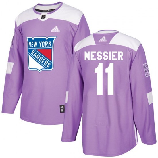 Adidas Mark Messier New York Rangers Youth Authentic Fights Cancer Practice Jersey - Purple