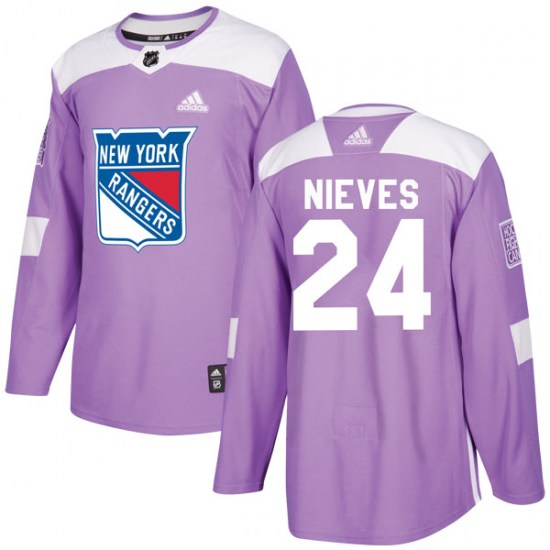 Adidas Boo Nieves New York Rangers Youth Authentic Fights Cancer Practice Jersey - Purple