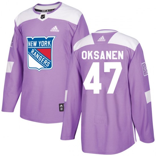 Adidas Ahti Oksanen New York Rangers Youth Authentic Fights Cancer Practice Jersey - Purple
