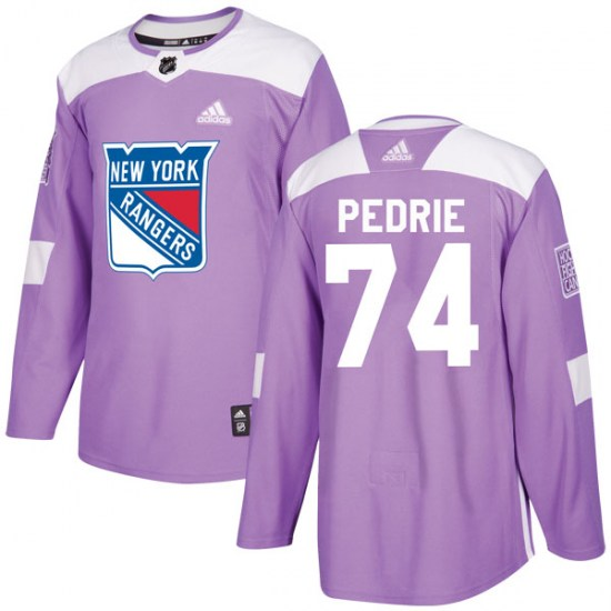 Adidas Vince Pedrie New York Rangers Youth Authentic Fights Cancer Practice Jersey - Purple