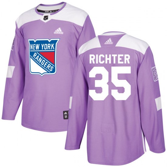 Adidas Mike Richter New York Rangers Youth Authentic Fights Cancer Practice Jersey - Purple