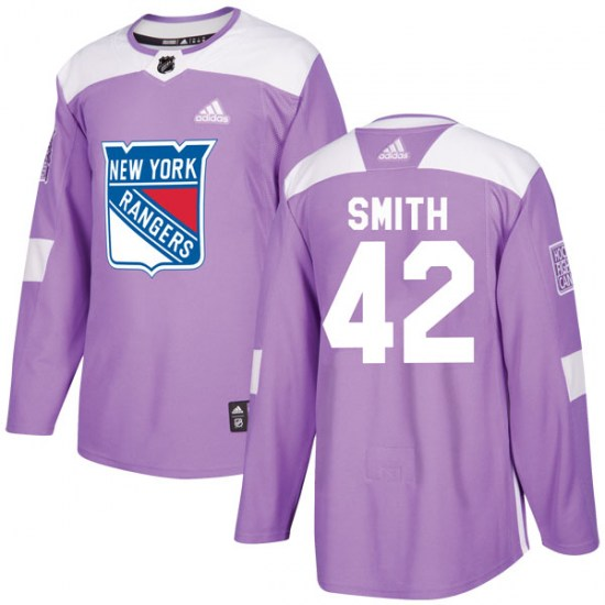 Adidas Brendan Smith New York Rangers Youth Authentic Fights Cancer Practice Jersey - Purple