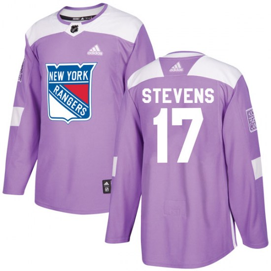 Adidas Kevin Stevens New York Rangers Youth Authentic Fights Cancer Practice Jersey - Purple