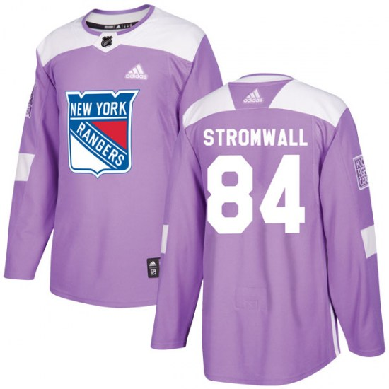 Adidas Malte Stromwall New York Rangers Youth Authentic Fights Cancer Practice Jersey - Purple