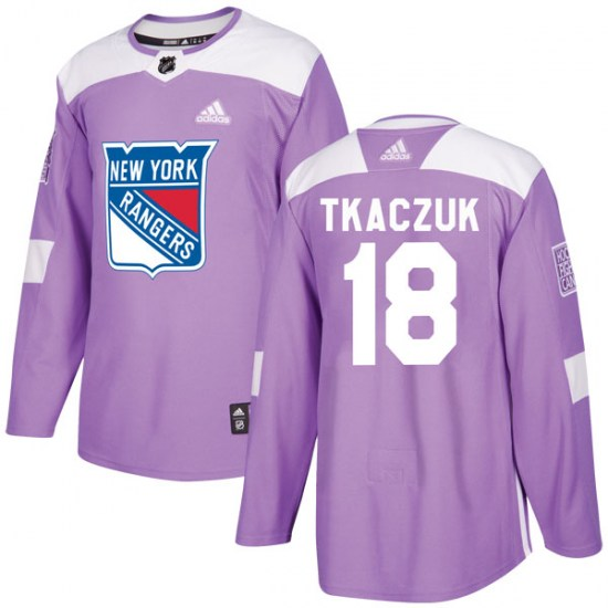 Adidas Walt Tkaczuk New York Rangers Youth Authentic Fights Cancer Practice Jersey - Purple