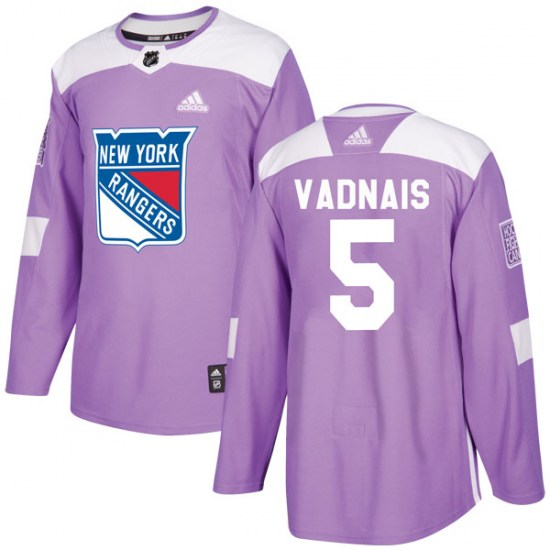 Adidas Carol Vadnais New York Rangers Youth Authentic Fights Cancer Practice Jersey - Purple