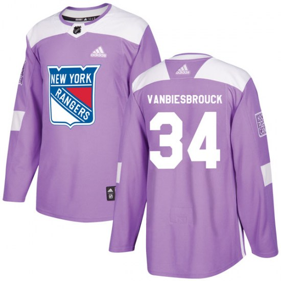 Adidas John Vanbiesbrouck New York Rangers Youth Authentic Fights Cancer Practice Jersey - Purple