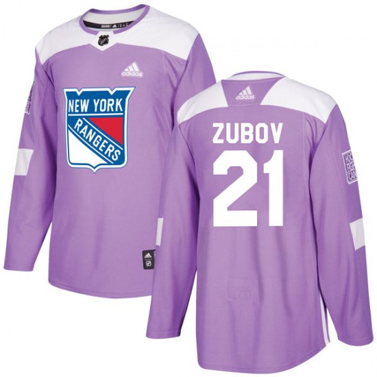 Adidas Sergei Zubov New York Rangers Youth Authentic Fights Cancer Practice Jersey - Purple