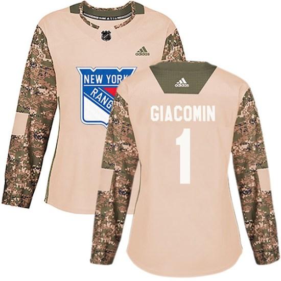 Adidas Eddie Giacomin New York Rangers Women's Authentic Veterans Day Practice Jersey - Camo
