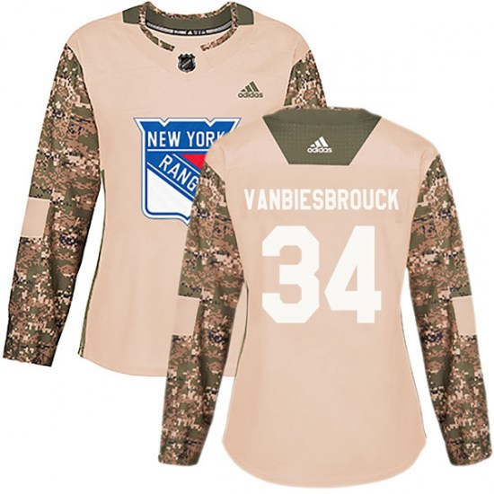 Adidas John Vanbiesbrouck New York Rangers Women's Authentic Veterans Day Practice Jersey - Camo