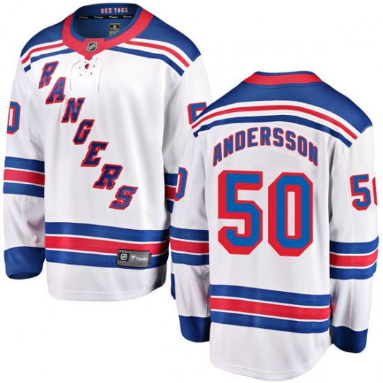Fanatics Branded Lias Andersson New York Rangers Youth Breakaway Away Jersey - White