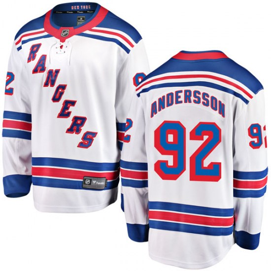 Fanatics Branded Calle Andersson New York Rangers Youth Breakaway Away Jersey - White