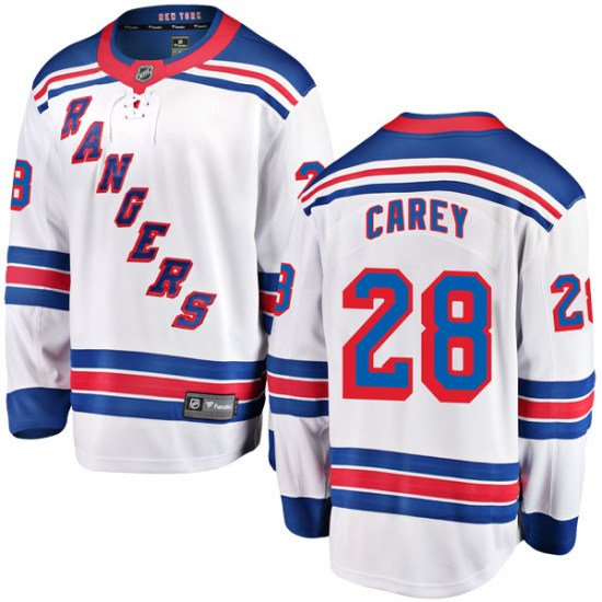 Fanatics Branded Paul Carey New York Rangers Youth Breakaway Away Jersey - White