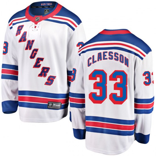 Fanatics Branded Fredrik Claesson New York Rangers Youth Breakaway Away Jersey - White