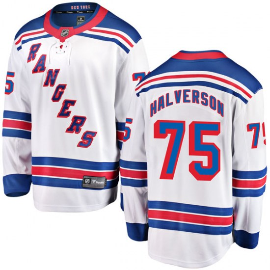 Fanatics Branded Brandon Halverson New York Rangers Youth Breakaway Away Jersey - White