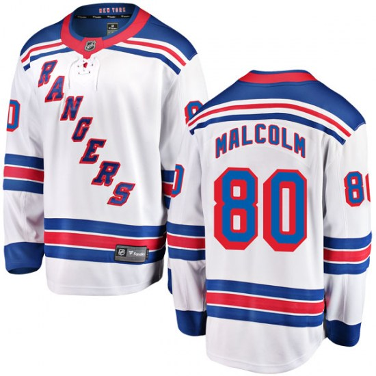Fanatics Branded Jeff Malcolm New York Rangers Youth Breakaway Away Jersey - White