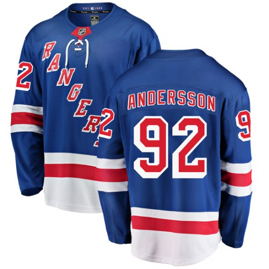 Fanatics Branded Calle Andersson New York Rangers Youth Breakaway Home Jersey - Blue