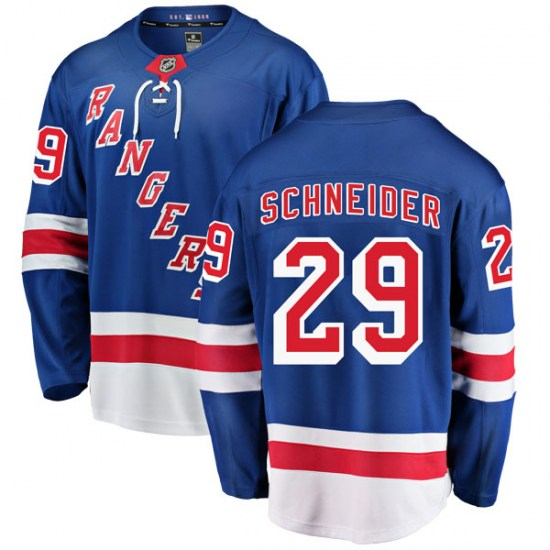Fanatics Branded Cole Schneider New York Rangers Youth Breakaway Home Jersey - Blue