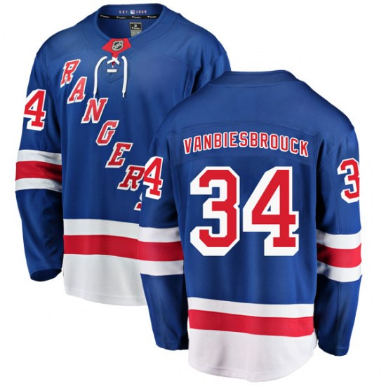 Fanatics Branded John Vanbiesbrouck New York Rangers Youth Breakaway Home Jersey - Blue