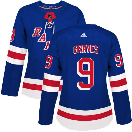 Adidas Adam Graves New York Rangers Women's Authentic Home Jersey - Royal Blue