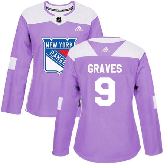 Adidas Adam Graves New York Rangers Women's Authentic Fights Cancer Practice Jersey - Purple