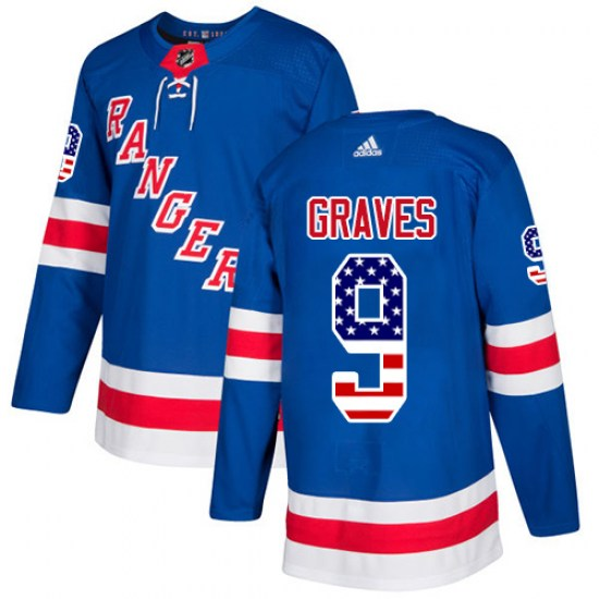 Adidas Adam Graves New York Rangers Authentic USA Flag Fashion Jersey - Royal Blue