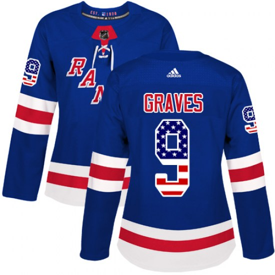 Adidas Adam Graves New York Rangers Women's Authentic USA Flag Fashion Jersey - Royal Blue