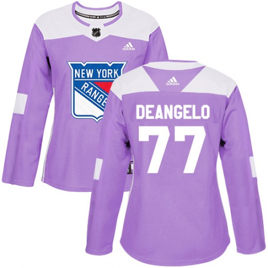 Adidas Anthony DeAngelo New York Rangers Women's Authentic Fights Cancer Practice Jersey - Purple