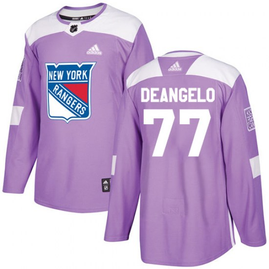 Adidas Anthony DeAngelo New York Rangers Youth Authentic Fights Cancer Practice Jersey - Purple