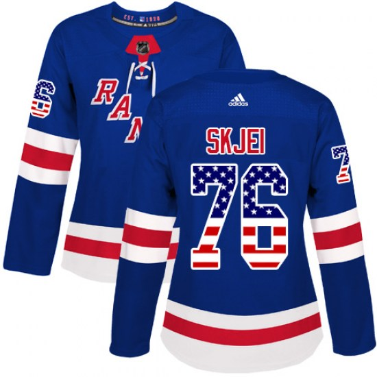 Adidas Brady Skjei New York Rangers Women's Authentic USA Flag Fashion Jersey - Royal Blue
