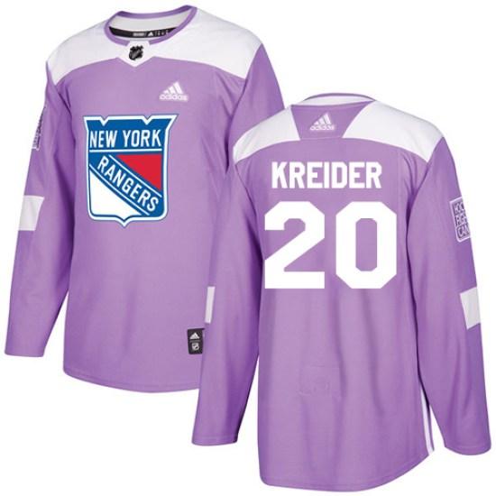 Adidas Chris Kreider New York Rangers Youth Authentic Fights Cancer Practice Jersey - Purple