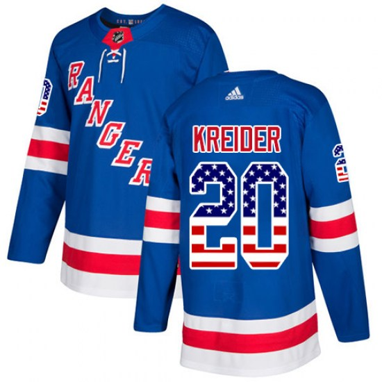Adidas Chris Kreider New York Rangers Youth Authentic USA Flag Fashion Jersey - Royal Blue