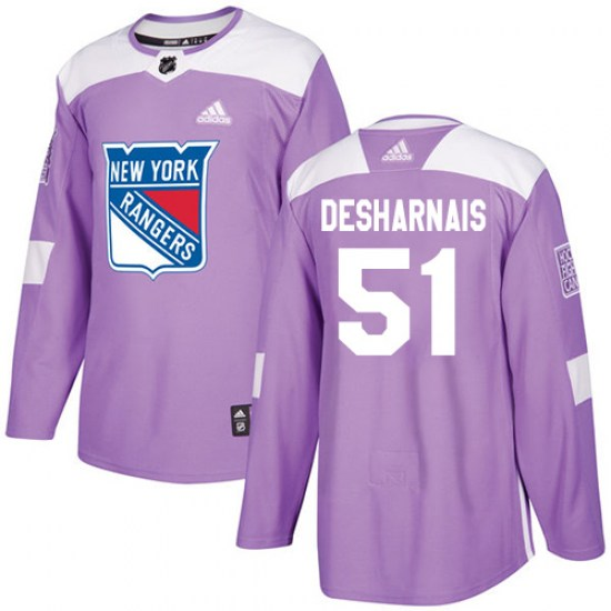 Adidas David Desharnais New York Rangers Authentic Fights Cancer Practice Jersey - Purple