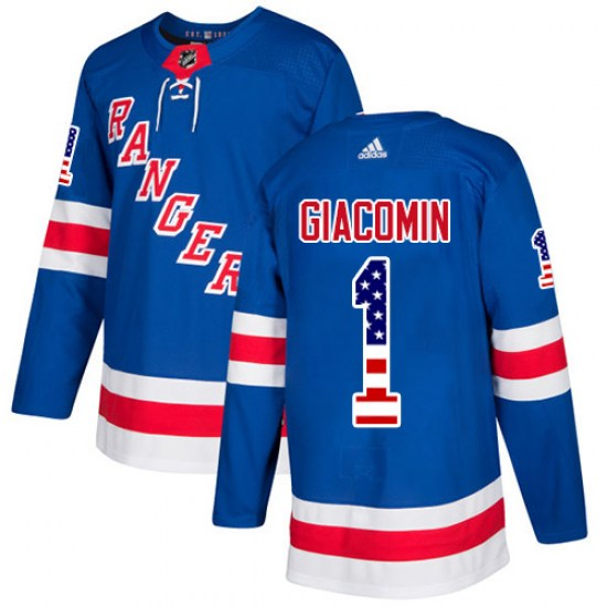 Adidas Eddie Giacomin New York Rangers Youth Authentic USA Flag Fashion Jersey - Royal Blue