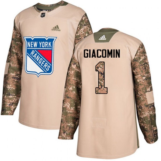 Adidas Eddie Giacomin New York Rangers Youth Authentic Veterans Day Practice Jersey - Camo