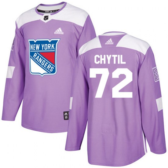 Adidas Filip Chytil New York Rangers Youth Authentic Fights Cancer Practice Jersey - Purple