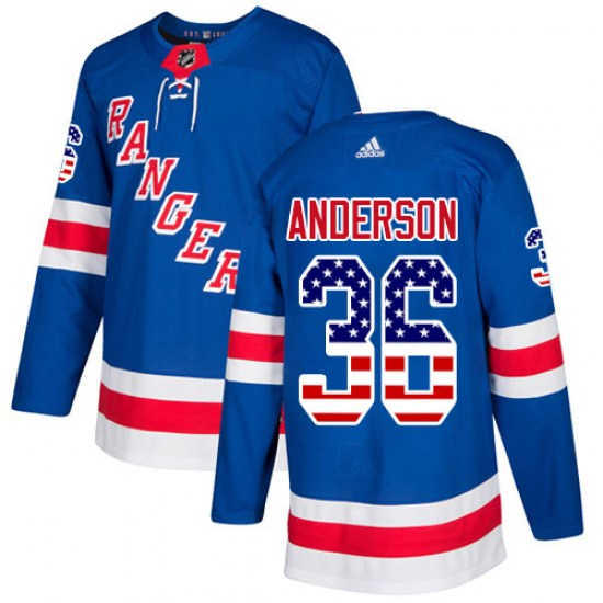 Adidas Glenn Anderson New York Rangers Authentic USA Flag Fashion Jersey - Royal Blue