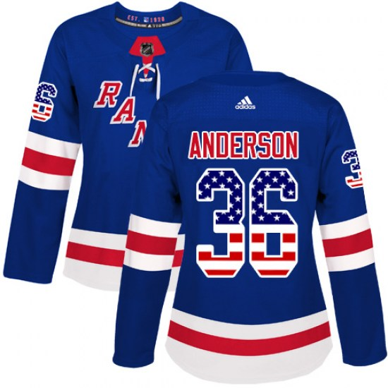 Adidas Glenn Anderson New York Rangers Women's Authentic USA Flag Fashion Jersey - Royal Blue