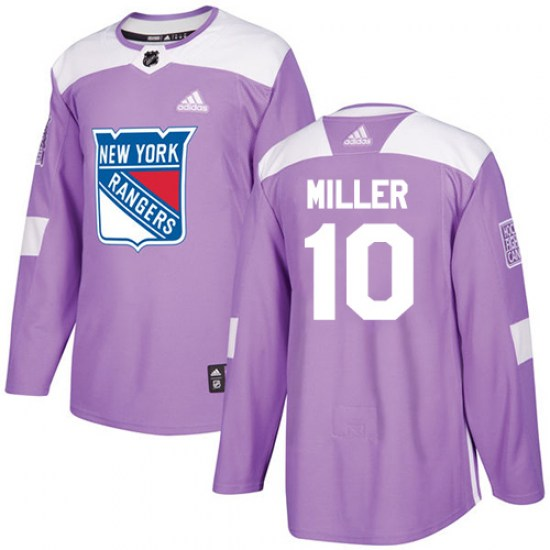 Adidas J.T. Miller New York Rangers Youth Authentic Fights Cancer Practice Jersey - Purple