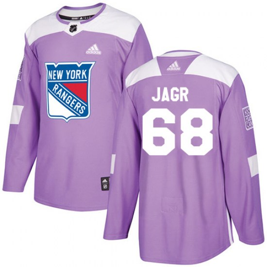Adidas Jaromir Jagr New York Rangers Youth Authentic Fights Cancer Practice Jersey - Purple