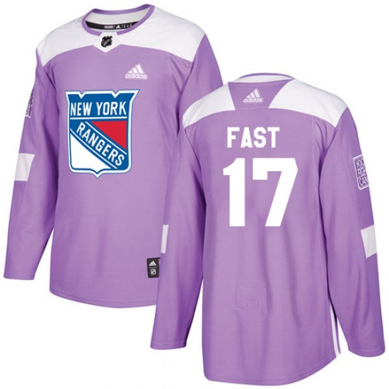 Adidas Jesper Fast New York Rangers Youth Authentic Fights Cancer Practice Jersey - Purple