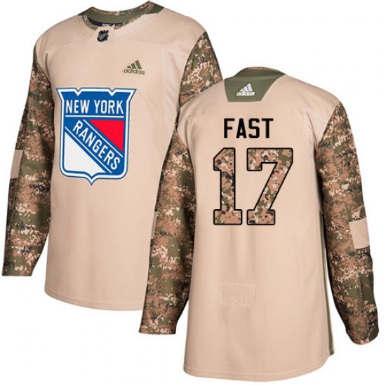 Adidas Jesper Fast New York Rangers Youth Authentic Veterans Day Practice Jersey - Camo