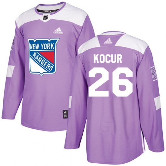 Adidas Joe Kocur New York Rangers Youth Authentic Fights Cancer Practice Jersey - Purple