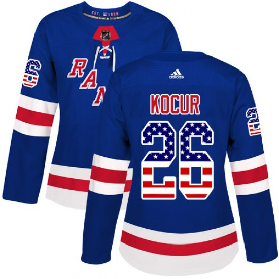 Adidas Joe Kocur New York Rangers Women's Authentic USA Flag Fashion Jersey - Royal Blue