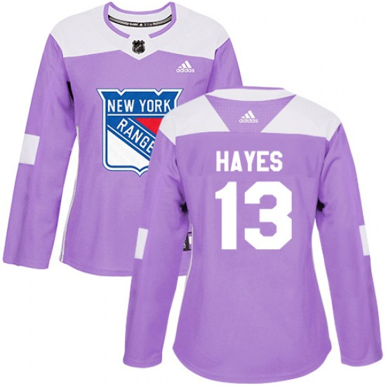 Adidas Kevin Hayes New York Rangers Women's Authentic Fights Cancer Practice Jersey - Purple