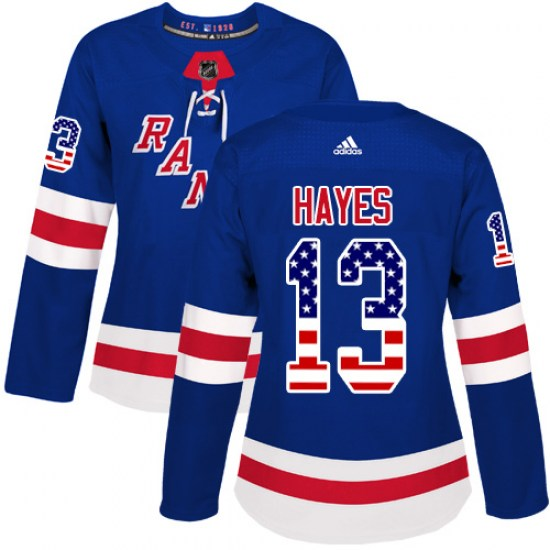 Adidas Kevin Hayes New York Rangers Women's Authentic USA Flag Fashion Jersey - Royal Blue