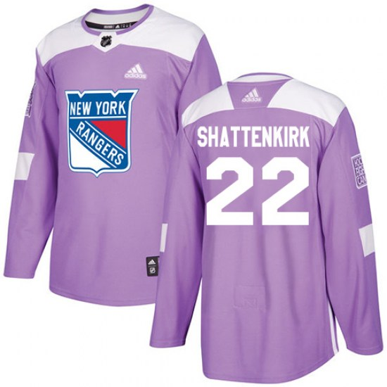 Adidas Kevin Shattenkirk New York Rangers Youth Authentic Fights Cancer Practice Jersey - Purple