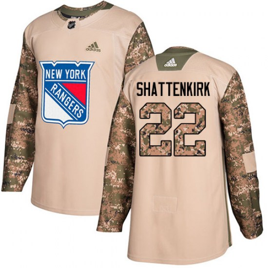 Adidas Kevin Shattenkirk New York Rangers Youth Authentic Veterans Day Practice Jersey - Camo