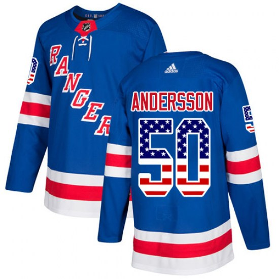 Adidas Lias Andersson New York Rangers Youth Authentic USA Flag Fashion Jersey - Royal Blue