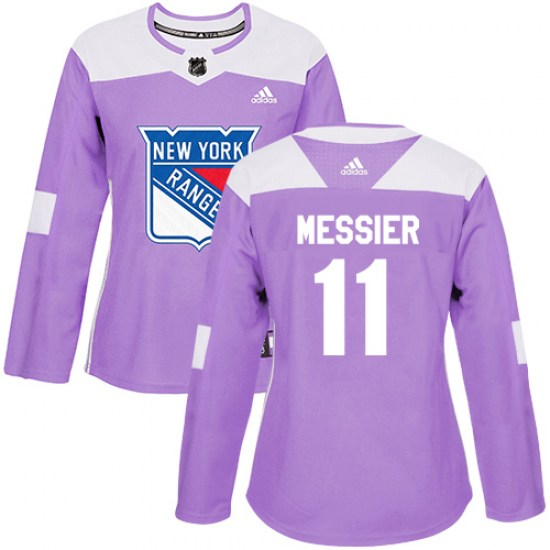 Adidas Mark Messier New York Rangers Women's Authentic Fights Cancer Practice Jersey - Purple